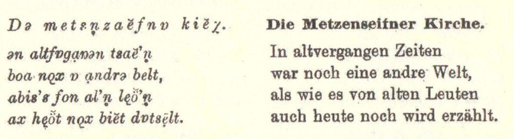 """Auszug aus dem Gedicht """"Die Metzenseifner Kirche"""""""