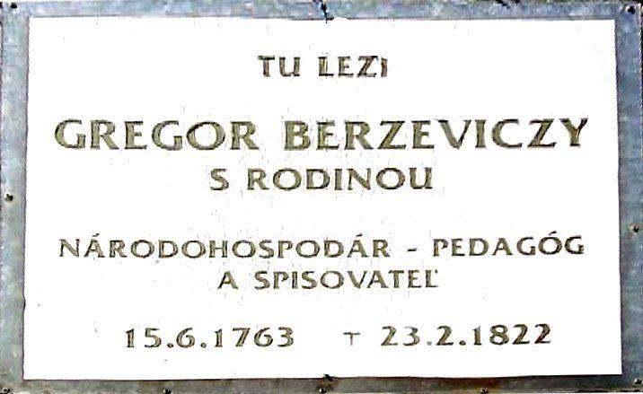 Grabplatte von Gregor Berzeviczy
