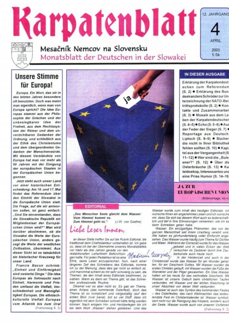Karpatenblatt Titelseite April 2003
