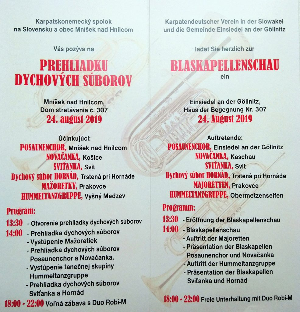 Einsiedel an der Göllnitz Programm Blaskapellenschau