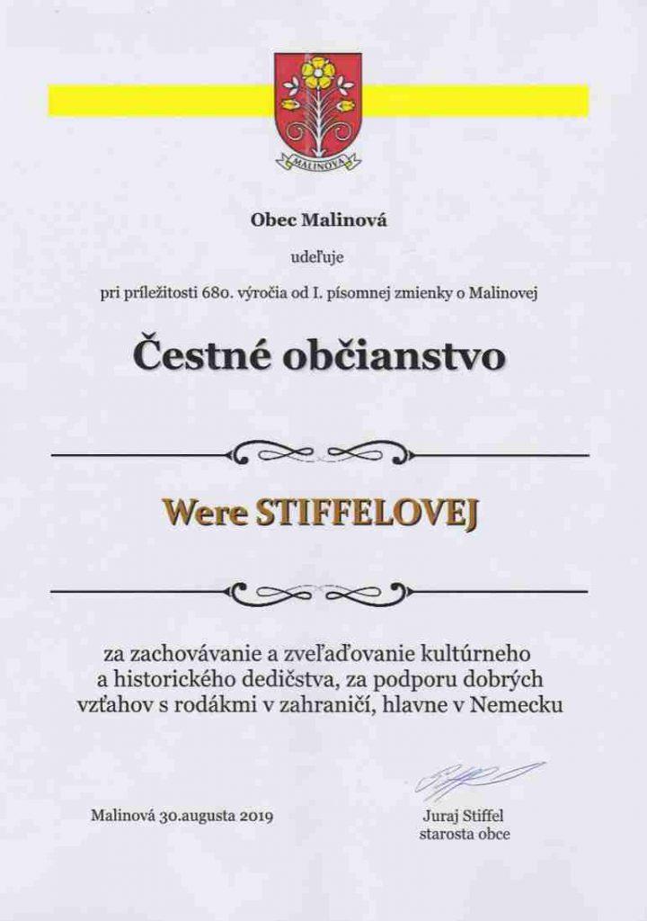 Wera Stiffel Ehrenbürger von Malinova