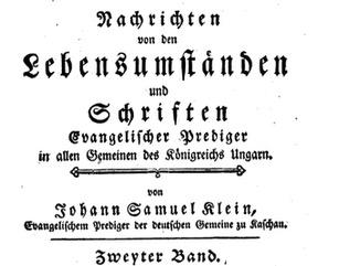 Samuel Klein Theologe aus der Zips