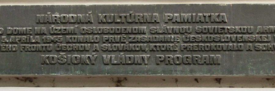 Gedenktafel Kaschauer Regierungsprogramm