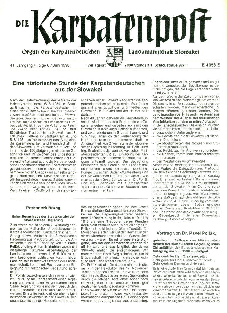 Karpatenpost Juni 1990