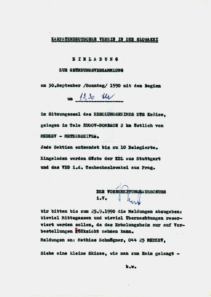 Einladung zur Gründungsversammlung des Karpatendeutschen Vereins