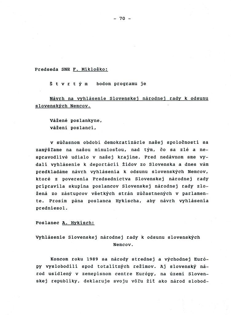 Der Entwurf der Erklärung