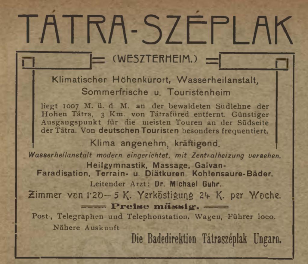 Werbung für Weszterheim/Tatra-Széplak