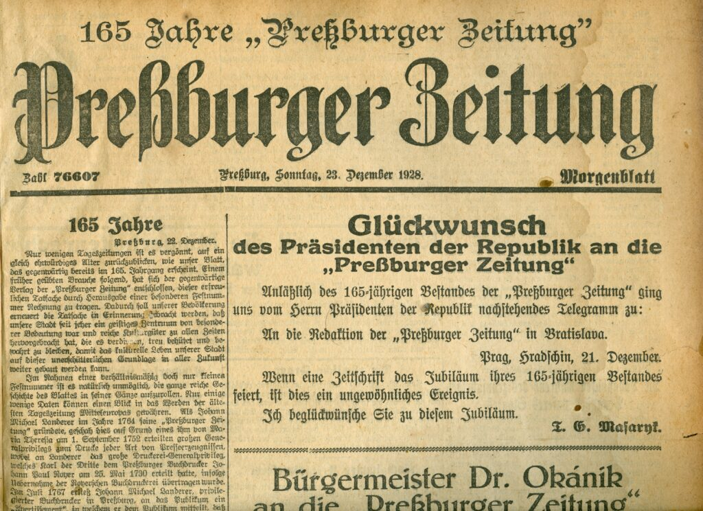 Die Preßburger Zeitung im Jahr 1928