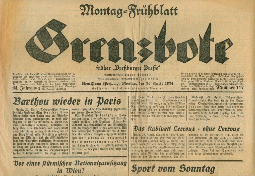 Der Grenzbote im Jahr 1934