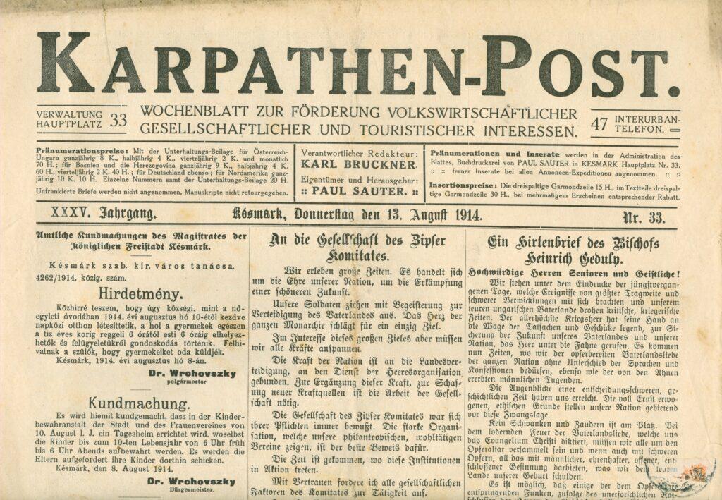 Die Karpathen-Post im Jahr 1914