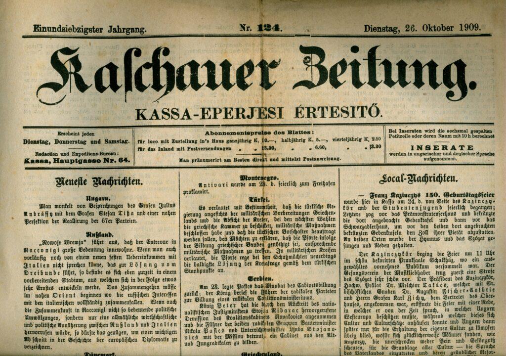 Die Kaschauer Zeitung im Jahr 1909