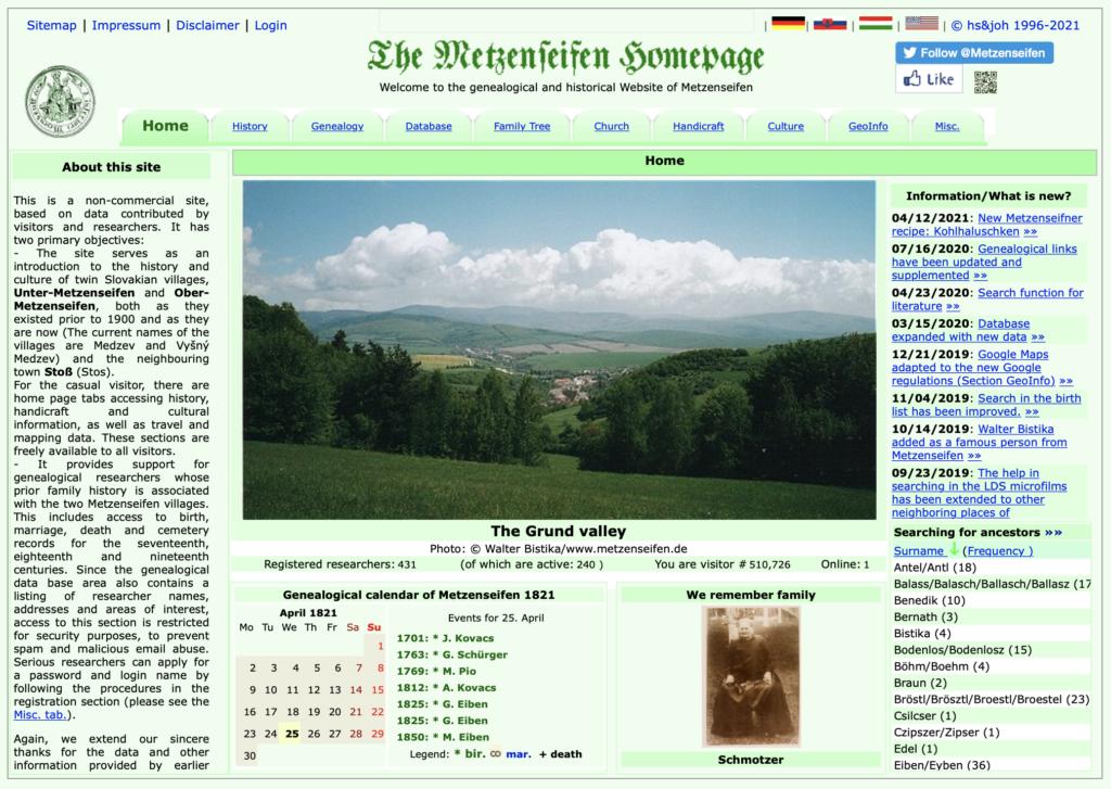 Screenshot der Webseite metzenseifen.de