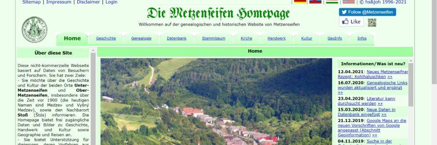 Webseite 25 Jahre Metzenseifen