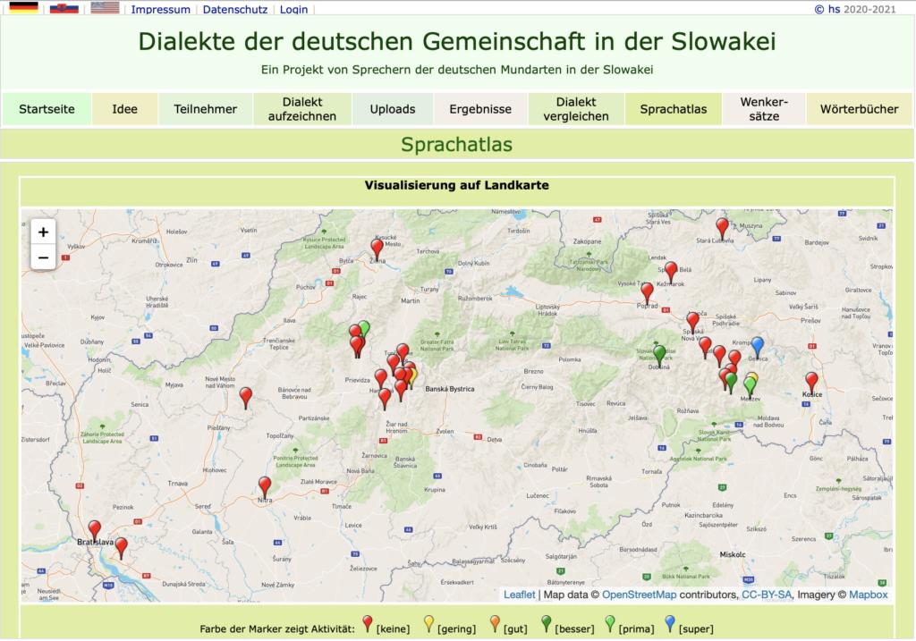 Screenshot der Webseite karpatendeutsche-mundarten.de