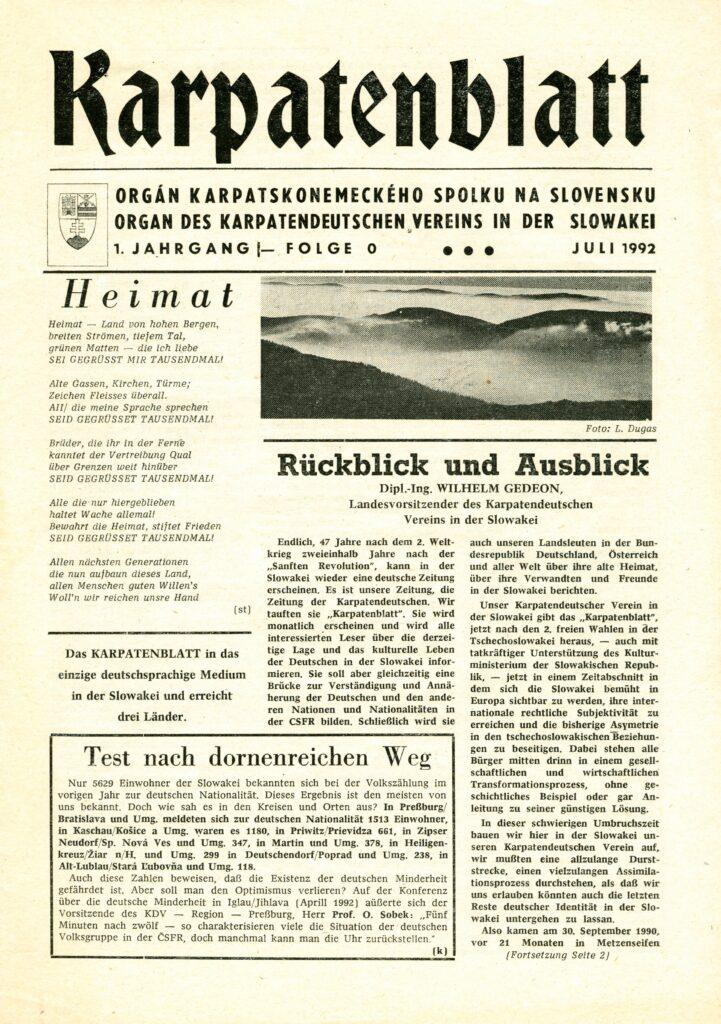 Die Titelseite des ersten Karpatenblattes